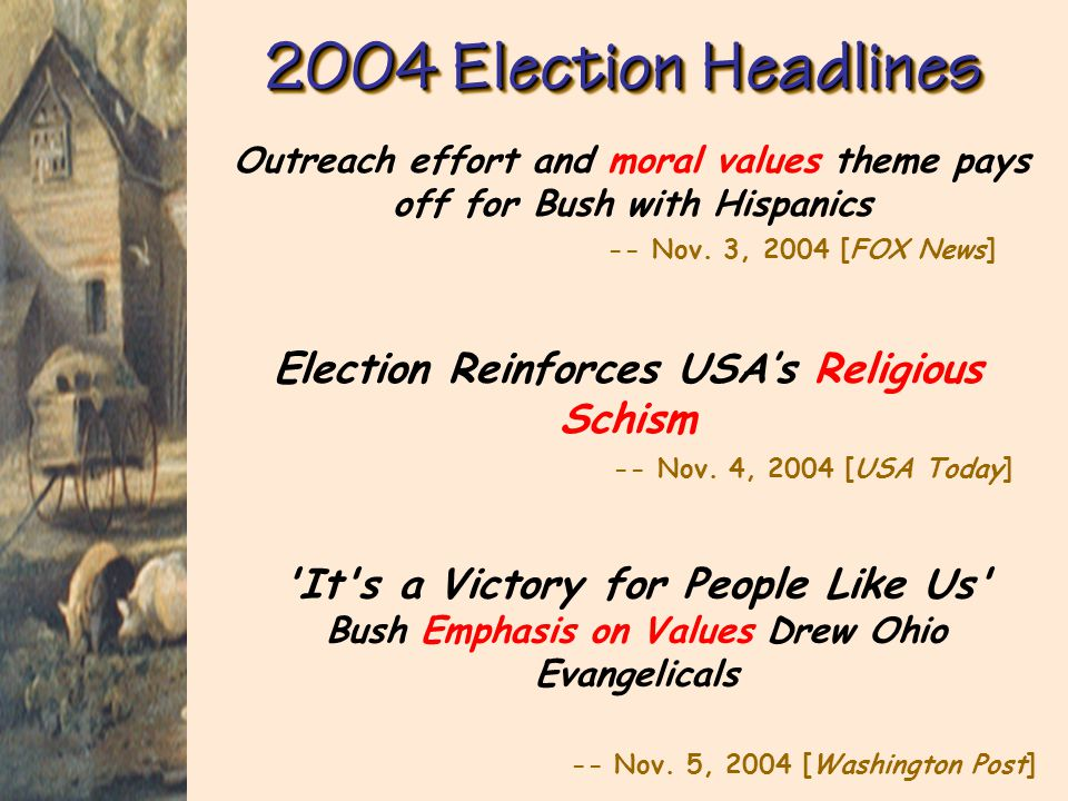 2004 Election Headlines Outreach effort and moral values theme pays off for Bush with Hispanics -- Nov. 3, 2004 [FOX News]